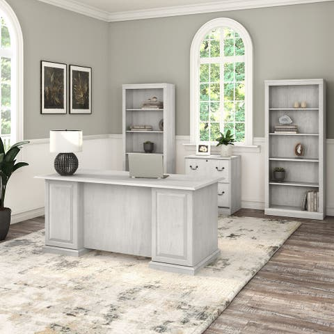 Saratoga Executive Desk, File Cabinet and Bookcases by Bush Furniture