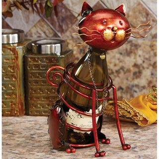 "14"" Hand Scuplted Wrought Iron Cat Table Top Wine Bottle Holder"