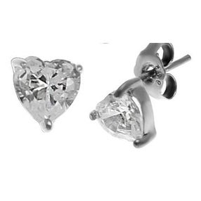 Silver 925 Studs with Heart Shaped CZ's