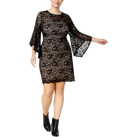 Love Squared Womens Plus Bodycon Dress Lace Bell Sleeves