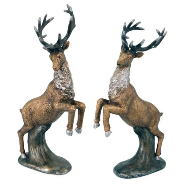 """Set of 2 Copper and Silver Colored Reindeer Christmas Tabletop Figures 15.5"""""""