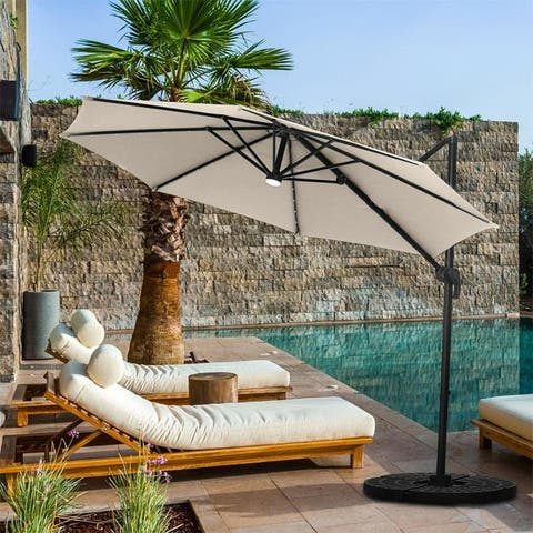Zenova 10ft Solar 40 Leds Cantilever Offset Hanging Patio Umbrella