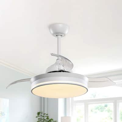 """White 36"""" Retractable 3-Blade LED Ceiling Fan with Remote"""