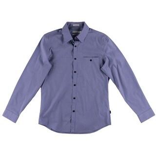 Calvin Klein Mens Checkered Long Sleeves Button-Down Shirt - M
