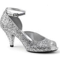 Fabulicious Women's Belle 381G Ankle-Strap Open-Toe Pump Silver Glitter/Silver Glitter