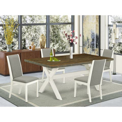 Kitchen Dining Table Set Contains a Rectangular X-Style Table and Modern Parson Dining Chairs (Chairs and Bench Option)