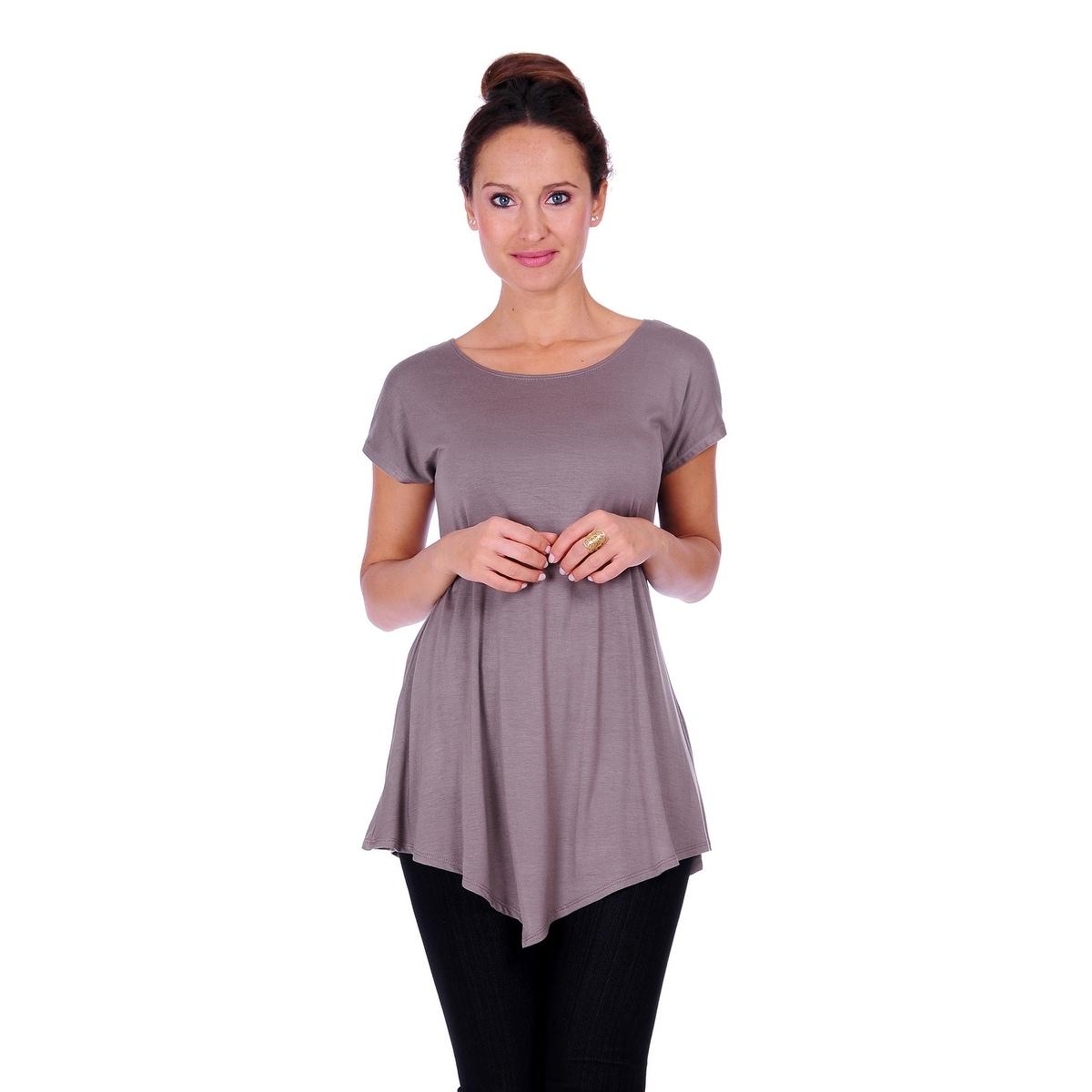 Simply Ravishing Women's Assymetrical Front/Back Handkerchief Hem Sleeveless Tunic Top - Thumbnail 9