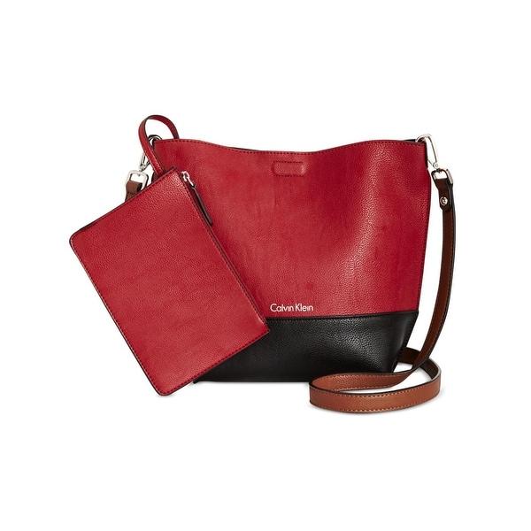 7b733059323 Calvin Klein Womens Kixbody Crossbody Handbag Colorblock Reversible - MEDIUM