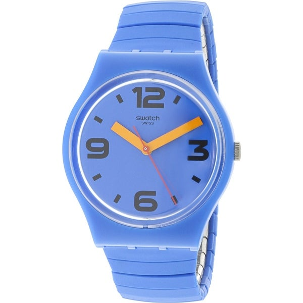 27211a4f68be Shop Swatch Pepeblu Blue Silicone Swiss Parts Quartz Fashion Watch - Free  Shipping Today - Overstock - 18618431