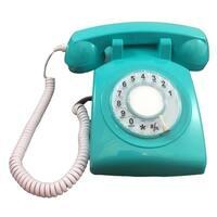Rotary Single Line Desk Phone - Aqua