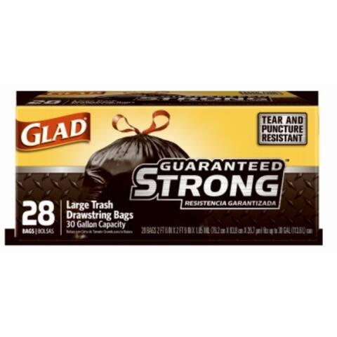 Glad 78966 Guaranteed Strong Large Trash Drawstring Bags, Black, 30-Gal, 28-Ct