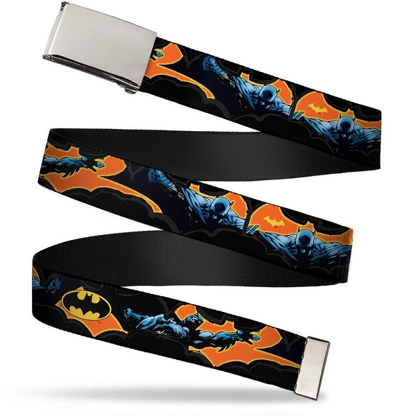 Blank Chrome Buckle Batman Action Poses Bat Cut Outs Black Orange Web Belt