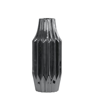 Round Ribbed Patterned Vase With Broad Mouth In Ceramic , Small, Silver