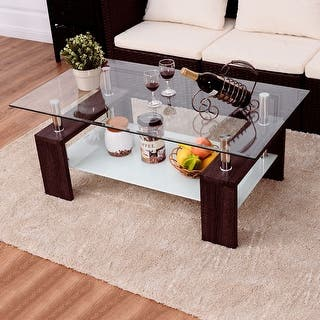 wooden living room tables. Costway Rectangular Tempered Glass Coffee Table w Shelf Wood Living Room  Furniture Tables For Less Overstock com