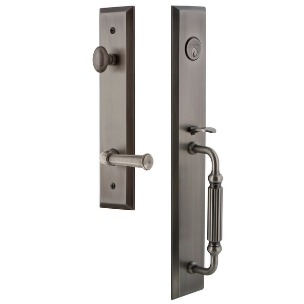 "Grandeur FAVFGRGEO_ESET_234_RH Fifth Avenue Solid Brass Rose Right Handed Keyed Entry Single Cylinder Full Plate ""F"" Grip"