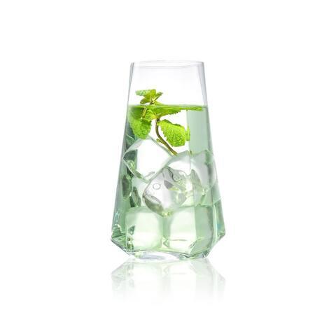 JoyJolt Infiniti Crystal Highball Glasses 18Oz, Set of 4