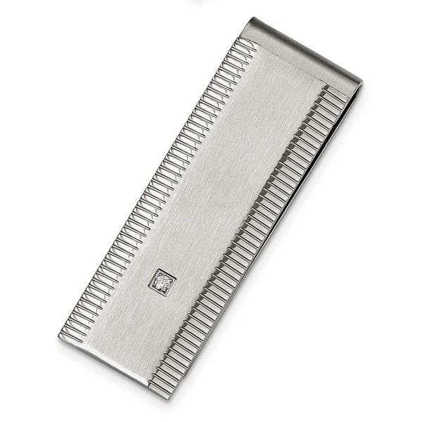 Chisel Stainless Steel Polished and Brushed CZ Money Clip