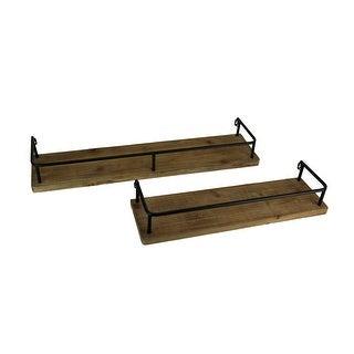 Rustic Farmhouse Tin Frame Wood Wall Shelf Set of 2 - 3.75 X 31.5 X 7.5 inches