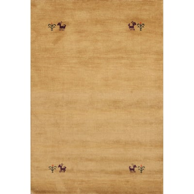 "Tribal Geometric Gabbeh Oriental Area Rug Hand-knotted Wool Carpet - 4'0"" x 5'10"""