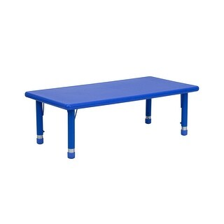 Offex 24''W x 48''L Height Adjustable Rectangular Blue Plastic Activity Table
