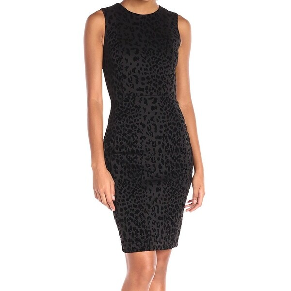 575976a4fc6 Shop Calvin Klein NEW Black Flocked Animal Print Dress Women Size 6 ...