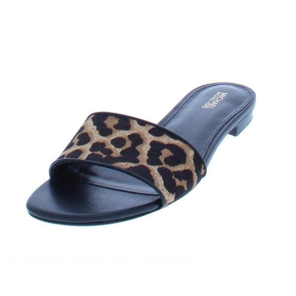316e2defe771 Shop MICHAEL Michael Kors Womens Mercer Calf Hair Cheetah Flat Sandals -  NATURAL/BLACK - 7.5 - Free Shipping Today - Overstock - 24303141