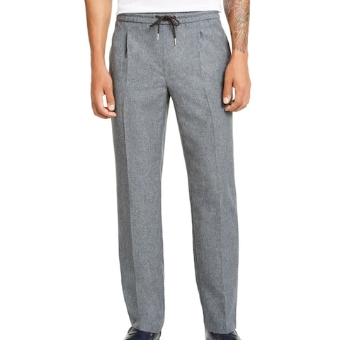 Alfani Mens Pants Melange Gray Large L Drawstring Inverted-Pleat Stretch