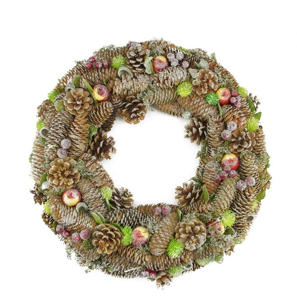 "19.5"" Natural Pine Cone and Fruit Glitter Artificial Christmas Wreath - Unlit"