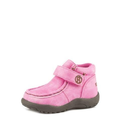 Roper Western Shoes Girls Moc Hook & Loop Pink