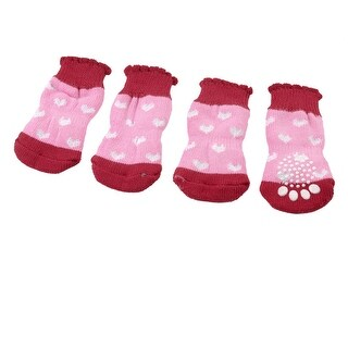 Unique Bargains 2 Pairs Red Pink White Hearts Print Knitted Warm Pet Dog Puppy Socks