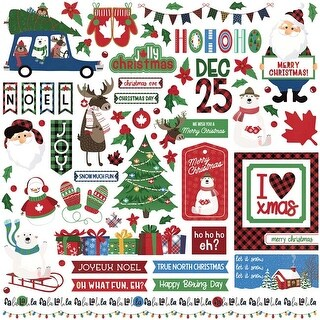 """Elements - O Canada Christmas Stickers 12""""X12"""""""