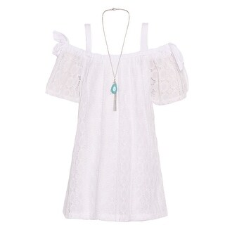 Girls White Lace Off-Shoulder Knot Detail Necklace Easter Dress