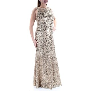CALVIN KLEIN $389 Womens New 2123 Gold Sequined Embroidered Mermaid Dress 12 B+B
