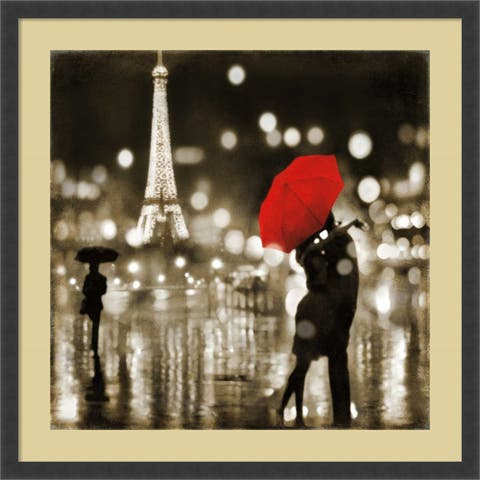 Framed Art Print 'A Paris Kiss' by Kate Carrigan 34 x 34-inch