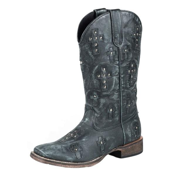 Roper Western Boots Womens Cross Bling Black