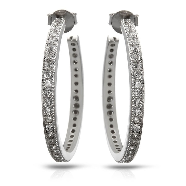 Mcs Jewelry Inc STERLING SILVER 925 ROUND HOOP EARRINGS WITH CUBIC ZIRCONIA 30MM