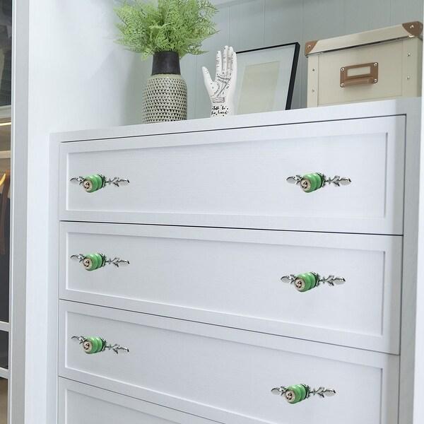 Ceramic Knobs Drawer Handle Cupboard Wardrobe Cabinet Accessories 4pcs Green