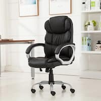 Belleze Bonded Leather Executive Chair Office Chair Swivel- Black