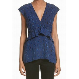 Proenza Schouler Blue Womens Size 4 Printed Ruffle V-Neck Blouse