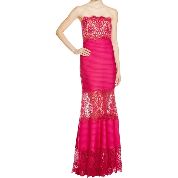 Tadashi Shoji Womens Evening Dress Lace Trim Mermaid