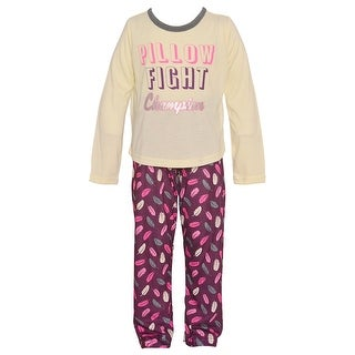 "Little Girls Ivory ""Pillow Fight Champion"" Feather Print 2 Pc Pajama Set"