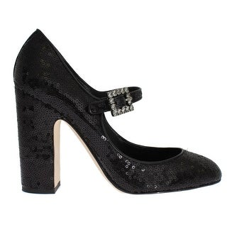 Dolce & Gabbana Black Leather Sequined Mary Janes Shoes
