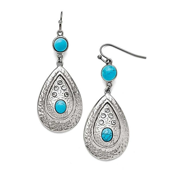 Chisel Stainless Steel Polished/Hammered Imitation Turquoise/CZ Earrings