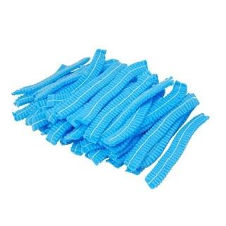 Unique Bargains 95 Pieces Blue Non-woven Fabrics Pleated Disposable Cap