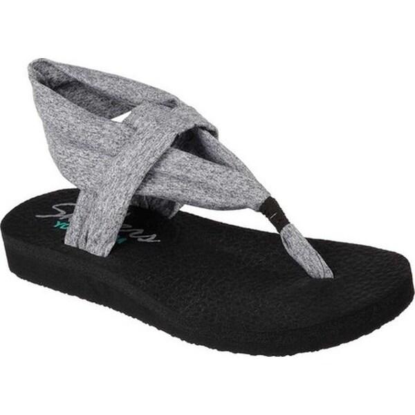 Gray Skechers Meditation Studio Kicks Comfort Sandals Shoes
