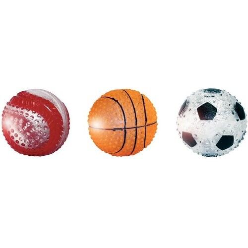 "MultiPet 51089 TPR Light Up Sport Ball Dog Toy, 3"", Assorted Color"