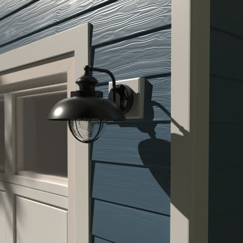 Harwich 1 Light Black Coastal Barn Dome Outdoor Wall Lantern Clear Glass - 10-in W x 10.25-in H x 11.5-in D