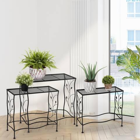 Glitzhome Set of 3 Rectangular Nesting Black Metal Plant Stand