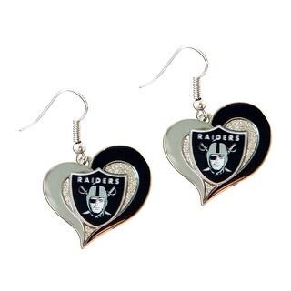 NFL Oakland Raiders Swirl Heart Shape Dangle Logo Earring Set Charm Gift