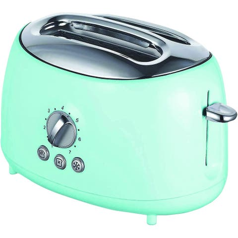 Brentwood Cool Touch Blue 2-Slice Extra Wide Slot Retro Toaster